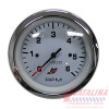 Tachometer, 0-6000, White Chrome, 3 3/8 inch.